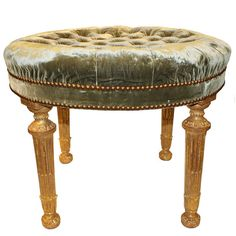 An English Palladian Four-Legged Circular Neoclassical Bench   From a unique collection of antique and modern benches at http://www.1stdibs.com/furniture/seating/benches/