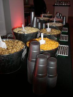 Hot Pink, Black, and Silver. Popcorn Bar by Lasting Impressions by Amy Wedding Popcorn Bar, Wedding Snacks, Wedding Candy, Wedding Ideas, Flavored Popcorn, Popcorn Recipes, Dessert Bars, Dessert Table, Reception Food