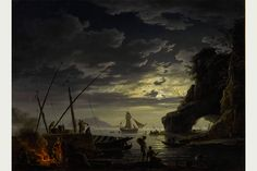 Claude-Joseph Vernet, Le Soir: a Mediterranean harbour at sunset with fisherfolk and merchants on a quay, oil on canvas, 71.6 x 98.7 cm. Photo: Sotheby's