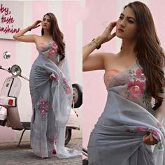Grey organza digital printed casual wear saree