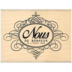 Nos jolis moments - Tampon bois - Etiquette flourish - 6 x 8 cm