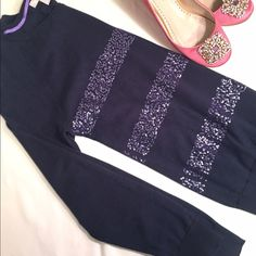 Navy blue sweater Such a gorgeous sweater with a hint of purple sparkle. Like new. No trades, please. Banana Republic Sweaters Crew & Scoop Necks