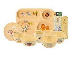 E-MART BPA Free, 100% Biodegradable Corn Made Kids Dinnerware Full Set, 9 Piece