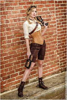 From the Steampunk Fashion Guide's Guide to Corsets - Overbust corsets: Steampunk Girl in Shorts