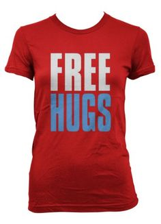 Cybertela Free Hugs Junior Girls T-shirt (Red X-Large)