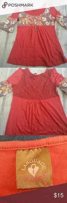 Anthropologie Language Los Angeles top Marked a size large but fits like a medium or even a small.  Great colors, lightweight and great shape.  No pilling and only worn one time. Anthropologie Tops