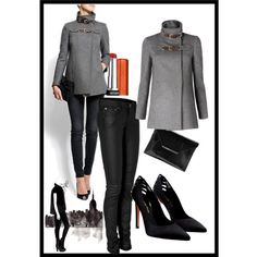 """""""Mango coat"""" by roz-harman on Polyvore - love the shoes and pants too"""