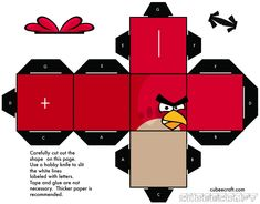 Angry Birds Cubee by ~gnbman on deviantART.Jenna from Speech Room News used this as a conversation starter! Cumpleaños Angry Birds, Festa Angry Birds, Imprimibles Toy Story Gratis, Paper Art, Paper Crafts, Diy Paper, Teen Library, Teen Programs, Bird Patterns