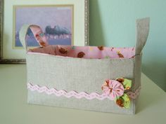 Linen Zakka Inspired Sewing Basket by so happy!, via Flickr