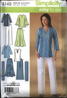 Simplicity Sewing Pattern 4149 Easy-to-Sew Misses'/Women's skirt, pants, tunic and scarf    Description: Pull-on tunic top with bust darts, slit n