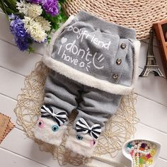 Autumn Winter Children Infants Pants Baby Girls Plus Thick Velvet Pants Kids Warm Cute Cotton Trousers Baby Tutu, Baby Girl Romper, Baby Dress, Fashion Kids, Baby Letters, Teddy Bear Clothes, Mommy And Me Shirt, Girl Christening, Baby Girl Princess