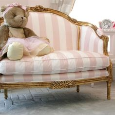 Beautiful little pink and white striped settee!