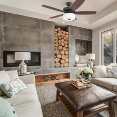 Home Fireplace, Fireplace Design, Concrete Fireplace, Two Sided Fireplace, Fireplace Seating, Casa Petra, Home Ceiling, Led Ceiling, House Fan
