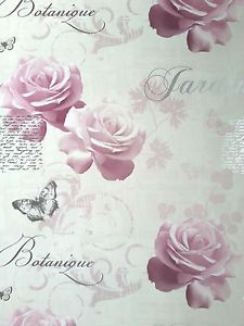 WOW-Shabby-Chic-Pink-Roses-Butterflies-Floral-Flower-Vintage-Feature-Wallpaper