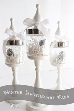 Apothecary Jars Beautiful apothecary jars with ideas for using them in winter home decor.Beautiful apothecary jars with ideas for using them in winter home decor. Christmas Jars, All Things Christmas, Christmas Decorations, Christmas Tables, Purple Christmas, Coastal Christmas, Table Decorations, Winter Home Decor, Winter House