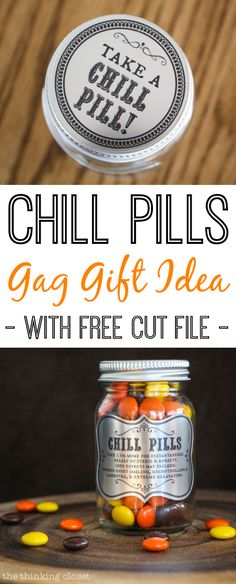 Chill Pills!  Gag Gift Idea - - Tutorial and FREE Silhouette Cut File | Well friends, no need to wait for chill pills to hit the drugstore shelves.  If you'd like to get your hands on some or know someone who would, I have a FREE cut file for you today, as well as the step-by-step tutorial, so you can see how easy this whole process actually is. Check it out here!