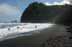 Pololu Valley on the Big Island of Hawaii. I've been there and the black sand is amazing...