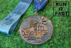 Beautiful finishers medal from the Fairview Half Marathon Medal - 2014 - Run It Fast. #runitfast #running #halfmarathon #fitness