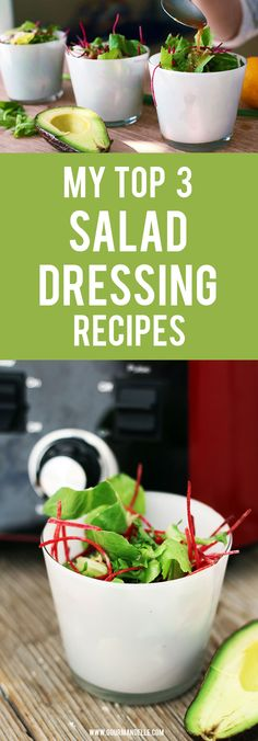 Top 3 Salad Dressing Recipes I Love! | Asian / Avocado / Mustard. Here are my top 3 favorite vegan salad dressing recipes with different flavors, colors and textures – asian dressing, avocado dressing and mustard dressing. https://gourmandelle.com/salad-dressing-recipes/