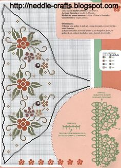 شغل ابره NEEDLE CRAFTS: مفرش ايتامين بكنار كروشيه -cross stitch and crochet doily