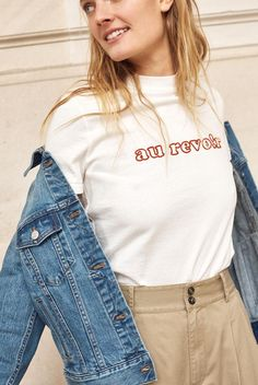 madewell embroidered au revoir retro tee worn with the khaki wide-leg pant + jean jacket. Girls Summer Outfits, Cute Outfits, Summer Clothes, Indie, Mode Inspiration, Fashion Outfits, Womens Fashion, Short, Casual Chic