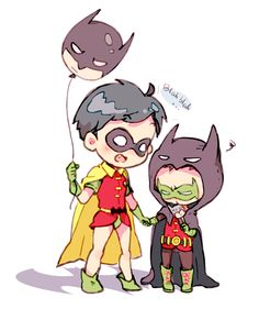 Young Dick Grayson and young Damian Wayne,they're so cute!!!! I'm dying from how cute this is!!