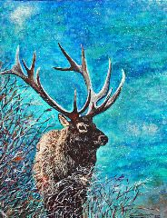 My acrylic painting of an elk. Soon to be available in various sizes for purchase on ebay!