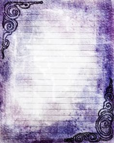 Printable Journal Page Swirls Purple Lined Stationery by InkedInk