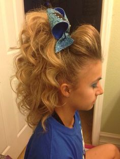 Cheer hair by pearlie - Modern Bump Hairstyles, Dance Hairstyles, Little Girl Hairstyles, Cheer Hairstyles, Cheerleader Hairstyles, Cheerleading Hair Bows, Cheerleading Stunting, Cheerleading Competition Hair, Cheer Competition