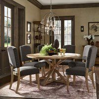 Inspire Q Benchwright Rustic X-Base Round Pine Wood Nailad Dining Set by Artisan Beige Round Dining Room Sets, 7 Piece Dining Set, Dining Tables, Pine Table, Beautiful Dining Rooms, Table And Chair Sets, Dining Room Design, Ceiling Design, Upholstered Chairs