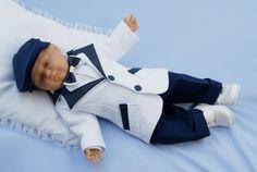 Taufanzug JAREK mit Sakko in weiß-blau mit ökologischem Leder - NEU