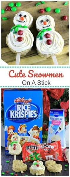 Cute Snowmen On A Stick Treats  #ad #sponsored These adorable Cute Snowmen On A Stick Treats will be the hit of the holidays for gift giving, party trays and holiday fun!  @mmschocolate @pillsbury  @ricekrispies @ahalogy #treatsfortoys  See how to make them by clicking the link!