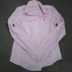 Aeropostale Stretch Button Up Shirt This pink and white striped button-up shirt by Aeropostale is a size medium and made of 98% cotton and 2% spandex. It measures from the shoulder at 25 inches. super cute with a pair of jeans or even a jean skirt. Aeropostale Tops Button Down Shirts