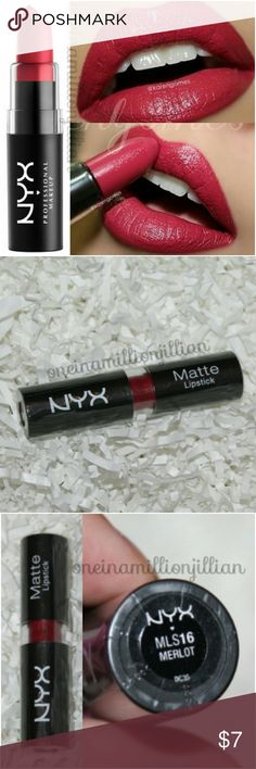 NYX Matte Lipstick - Merlot New/Sealed  Full Sz & Authentic  Color: Merlot (plum red)  NYX Matte Lipstick is a highly pigmented lipstick that glides on smoothly & stays put. Velvety non-glossy, high-fashion matte finish envelops lips in rich color.  Check my page for more great items & discounts. #oneinamillionjillian NYX Makeup Lipstick