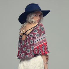 Floral Cross Back Top by Band of Gypsies