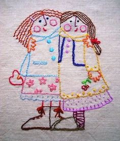 sisters or best friends embroidery. Vintage Embroidery, Embroidery Art, Embroidery Applique, Cross Stitch Embroidery, Embroidery Patterns, Machine Embroidery, Sewing Crafts, Sewing Projects, Art Textile
