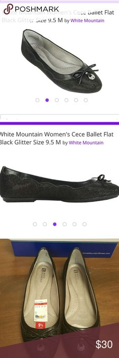 White Mountain Cece Ballet Flat Sport a stylish look wearing the White Mountain Cece Ballet Flat. The glittery body gives the pair a standout look. Its design is enhanced with a stylish vamp bow and an elegantly cut out topline. Elegant side detailing Bow on vamp Memory foam footbed.  Memory foam insole Flexible outsole Bow accent Glitter fabric Department: Womens Specifications  Age RangeAdult GenderGirls Size9.5 M Shoe WidthMedium Women's Shoe Size9.5 White Mountain  Shoes Sandals