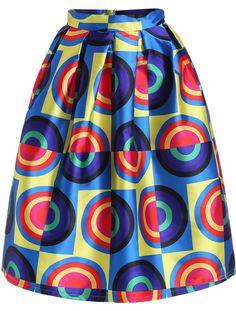 Multicolor Circle Print Flare Skirt 23.67