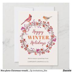 Non photo Christmas wreath elegant greeting Holiday Card