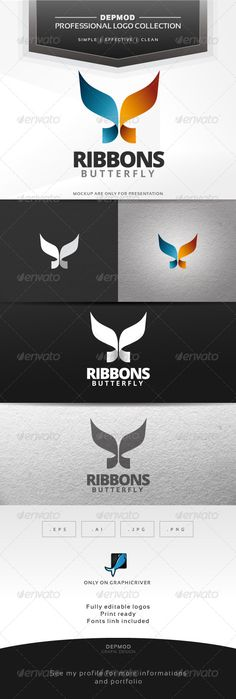 Ribbons Butterfly - Logo Design Template Vector #logotype Download it here: http://graphicriver.net/item/ribbons-butterfly-logo/6584388?s_rank=1614?ref=nesto