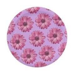 Purple And Pink Tropical Floral Print Paper Plate