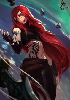 Zed League Of Legends, Katarina League Of Legends, League Of Legends Characters, Anime Girl Cute, Kawaii Anime Girl, Anime Art Girl, Anime Fairy Tail, Fairy Tail Girls, Fantasy Characters