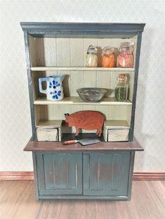 Miniature Simple Rustic SMALL WALNUT Finish Wall Shelf with PEGS DOLLHOUSE 1:12