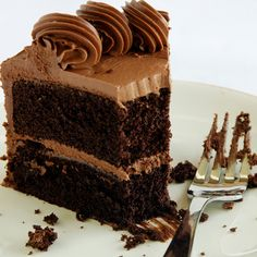 This chocolate cake recipe makes a dark rich cake. It is frosted with a simple chocolate butter cream frosting.