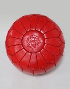 FILLED MOROCCAN LEATHER POUFFE - RED - H30 W50CM
