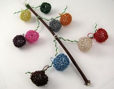 Miniature wire crochet Christmas ornaments set by CatsWire, via Flickr