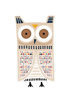 Owl Art Print Animal Illustration Drawing by dekanimal on Etsy