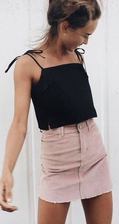 a blush skirt that can be worn with a crop tank top