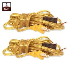 Royal Designs Lamp Cord with High/Low Rotary Switch and Molded Plug, Clear Gold, 9 feet, SPT-2, Set of 2 (CO-3001-GL-9-2)