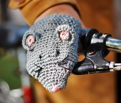 BIKE FOX HANDWARMERS Gloves Wool Crochet Winter Cold Days Unisex Woman Man Teens Cozy Gift. $25.00, via Etsy.